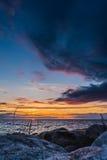 Beautiful zonsondergang bij Oostzee Royalty-vrije Stock Foto's
