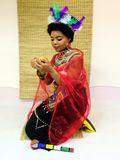 Beautiful Zulu bride in wedding attire royalty free stock photo