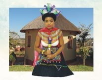 Beautiful Zulu bride in wedding attire stock image