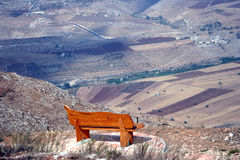 Beautifulb bench. The bench overlook to beautiful valley in Israel Stock Images