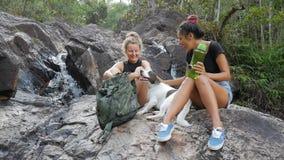 年轻Beautifule远足者女孩微笑和谈话在瀑布附近 酸值phangan泰国 HD,慢动作 股票视频
