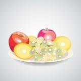 BeautifulFruits. White platter of fresh sweet fruits on the white background. Vector illustration. 10 EPS Royalty Free Stock Images