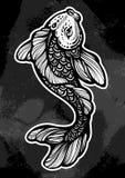 Beautifuliy wyszczególniał ilustrację Koja karpia ryba, symbol szczęście i obfitość, Pociągany ręcznie wektorowa grafika odizolow ilustracja wektor
