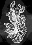 Beautifuliy wyszczególniał ilustrację Koja karpia ryba, symbol szczęście i obfitość, Rocznik kreda Pociągany ręcznie wektorowa gr royalty ilustracja