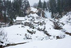 Beautifull冬天风景 喀尔巴阡山脉,白羊星座 免版税库存图片