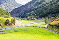 Beautifull视图对Myrdal铁路线挪威的Flam 库存照片
