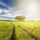 beautifull τοπίο sunrays Στοκ Φωτογραφίες