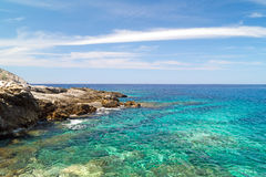Beautifull beach located at Mykonos island Stock Photos