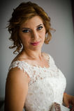 Beautifull bride portrait. Smiling beautifull bride on the wedding day in Bucharest Romania Stock Photography