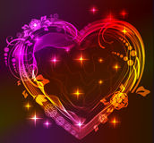 Beautifull bright heart with floral ornament. Valentine background Stock Photos