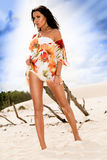 Beautifull caucasian girl walking on the beach Royalty Free Stock Photos