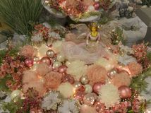 Beautifull christmas decoration with pink Christmas garland with royalty free stock photo