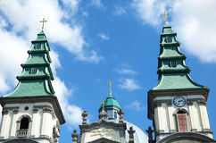 Beautifull church. With green domes and light blue sky Stock Images