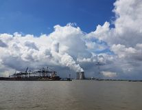 Beautifull clouds. A beautifull view of the skyline from the harbour of Antwerp Royalty Free Stock Photo
