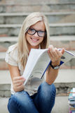 Beautifull college student in park Stock Image