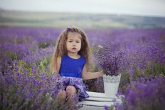 Beautifull cute blond Young beauty girl in blue jeans and purple shirt posing to camera with cosy smile face.Wellbeing time spendi Stock Photography