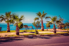 Beautifull embankment for walking and sport in Alanya Turkey. To royalty free stock photos