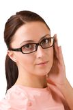 Beautifull girl in glasses. Portrait of a beautifull girl in glasses Stock Photography