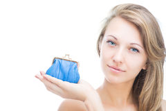 Beautifull girl holding a purse Stock Image