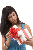 Beautifull girl opening giftbox Royalty Free Stock Images