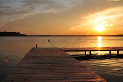Beautifull golden sunset on beach Royalty Free Stock Images