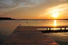 Beautifull golden sunset on beach. Beautiful sunset beach lake cloud Royalty Free Stock Images