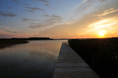 Beautifull golden sunset on beach. Beautiful sunset beach lake cloud Royalty Free Stock Photos
