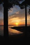 Beautifull golden sunset on beach Stock Photos