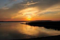 Beautifull golden sunset on beach. Beautiful sunset beach lake cloud Royalty Free Stock Photography