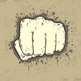 Beautifull illustration of fist in grunge style. An illustration of a front view of a left human hand punching towards you the viewer Royalty Free Stock Images