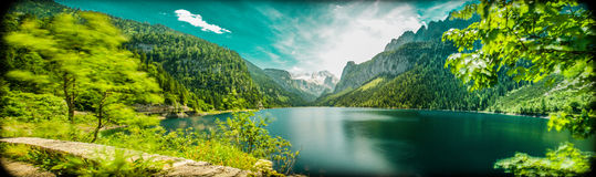 Lake with Glacier and Forest. Gosau Lake in Austria. Tourism´s Hotspot Nr. 1 Stock Photography