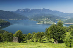 Beautifull landscape. Trees, lake and mountains near Vatra Dornei, Romania Royalty Free Stock Images