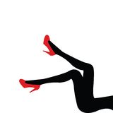 Beautifull legs with red shoes Royalty Free Stock Images