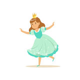 Beautifull little girl princess in a light blue ball dress and golden crown, fairytale costume for party or holiday. Vector Illustration isolated on a white Royalty Free Stock Photos