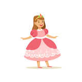 Beautifull little girl princess in pink ball dress and golden tiara, fairytale costume for party or holiday vector. Illustration isolated on a white background Stock Photos
