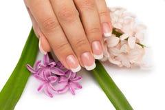 Beautifull manicure med blommor Arkivbilder