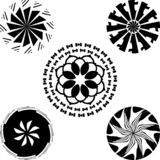Beautifull monochrome black and white set of floral leaves and abstract Floral art, isolated vector illustration