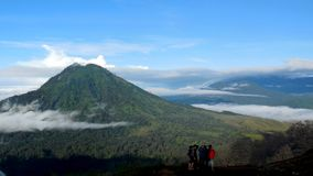 Morning view at the peak of Mountain Ijen stock photo