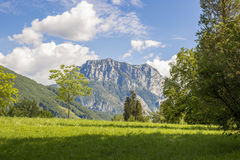 Beautifull Mountain. Blue sky green grass clouds summer shadow Royalty Free Stock Photography