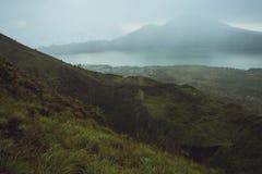 Beautifull mountain in the morning mist , Batur, Bali,  Indonesi Royalty Free Stock Photo