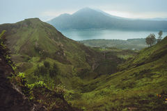 Beautifull mountain in the morning mist , Batur, Bali,  Indonesi Royalty Free Stock Images