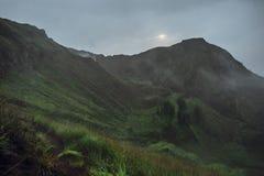 Beautifull mountain in the morning mist , Batur, Bali,  Indonesi Stock Image