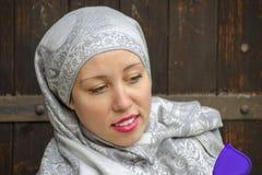 Beautifull muslim girl with red lipstick  Stock Photo