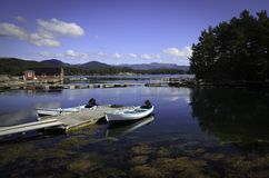 Beautifull Norway, bay  with boats and pier Stock Photo
