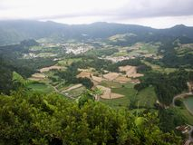Azores S.Miguel Island Portugal green valley. Beautifull panoramic view over rural fields on Azores Islands royalty free stock photos