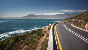 Coastal road highway in South Africa R44 Ocean. The R44 is one of the most beautiful coastal routes in the world from Hermanus to Cape Town, South Africa Stock Images