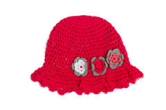 Beautifull red hat. Nice red hat for little girl with flowers decorations Stock Photo