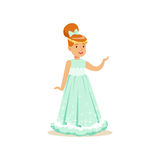 Beautifull redhead little girl princess in a light blue ball dress and golden tiara, fairytale costume for party or Stock Images