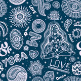 Beautifull seamless yoga pattern with ornaments Royalty Free Stock Photography