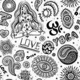 Beautifull seamless yoga pattern with ornaments Stock Images